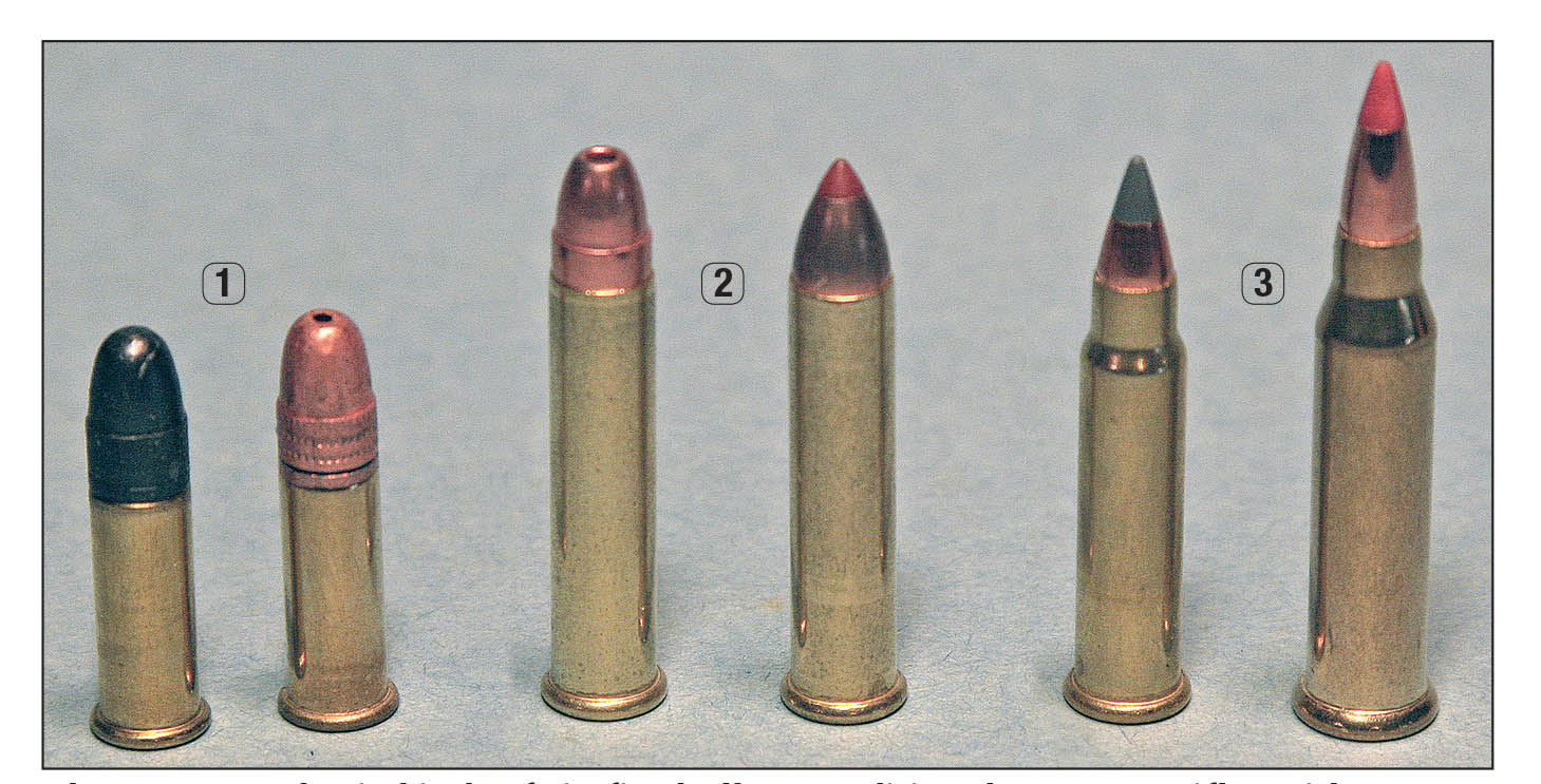 "There are two basic kinds of rimfire bullets: traditional .22 Long Rifles with a groove-diameter cylindrical section in front of the case (1) and modern spitzers like those used in the .17 HMR and WSM (3). Today's .22 Magnum ammunition comes with both types (2), resulting in widely varying bullet ""jump"" to the rifling."