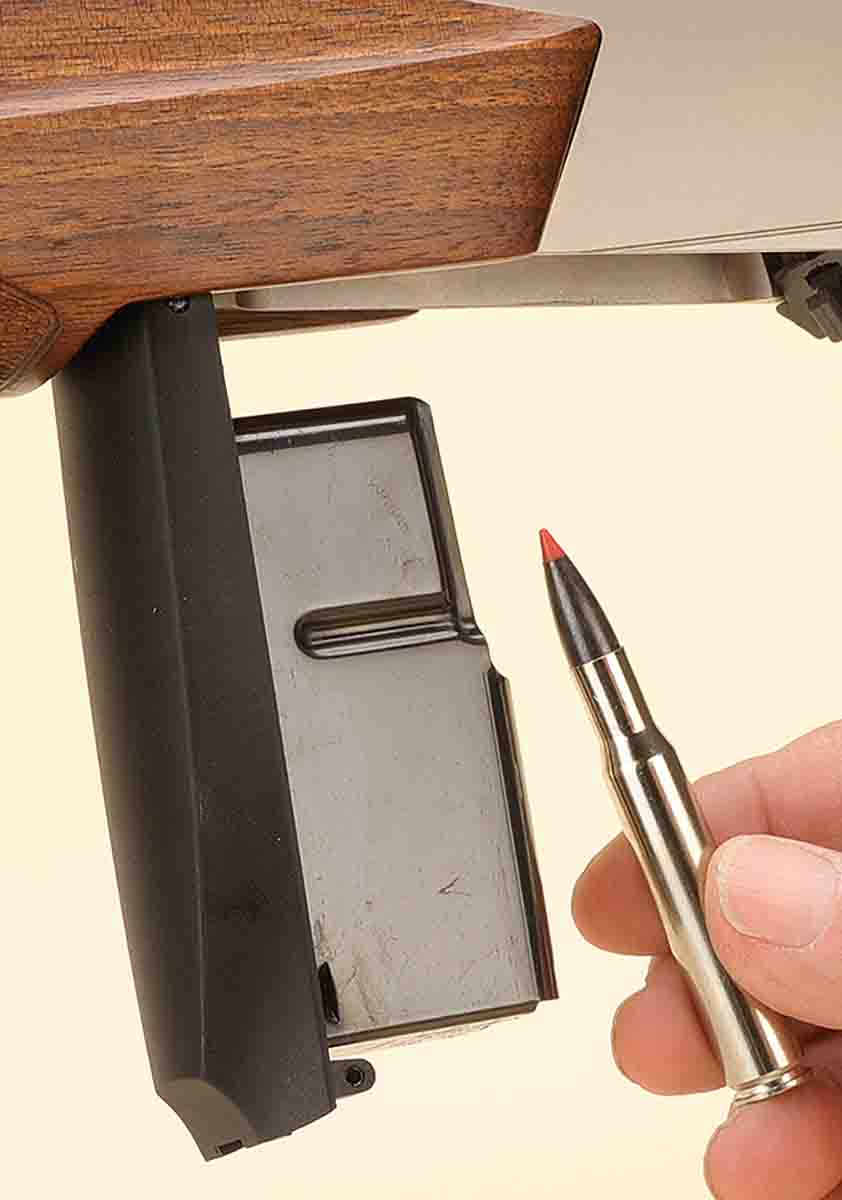 The BAR Mark 3 comes with a removable magazine that can be reloaded while still attached to the rifle, as shown.