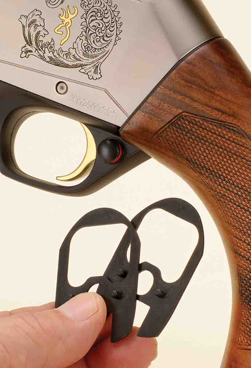 Browning includes a set of inserts that can be used to alter the pitch and cast-off of the stock.