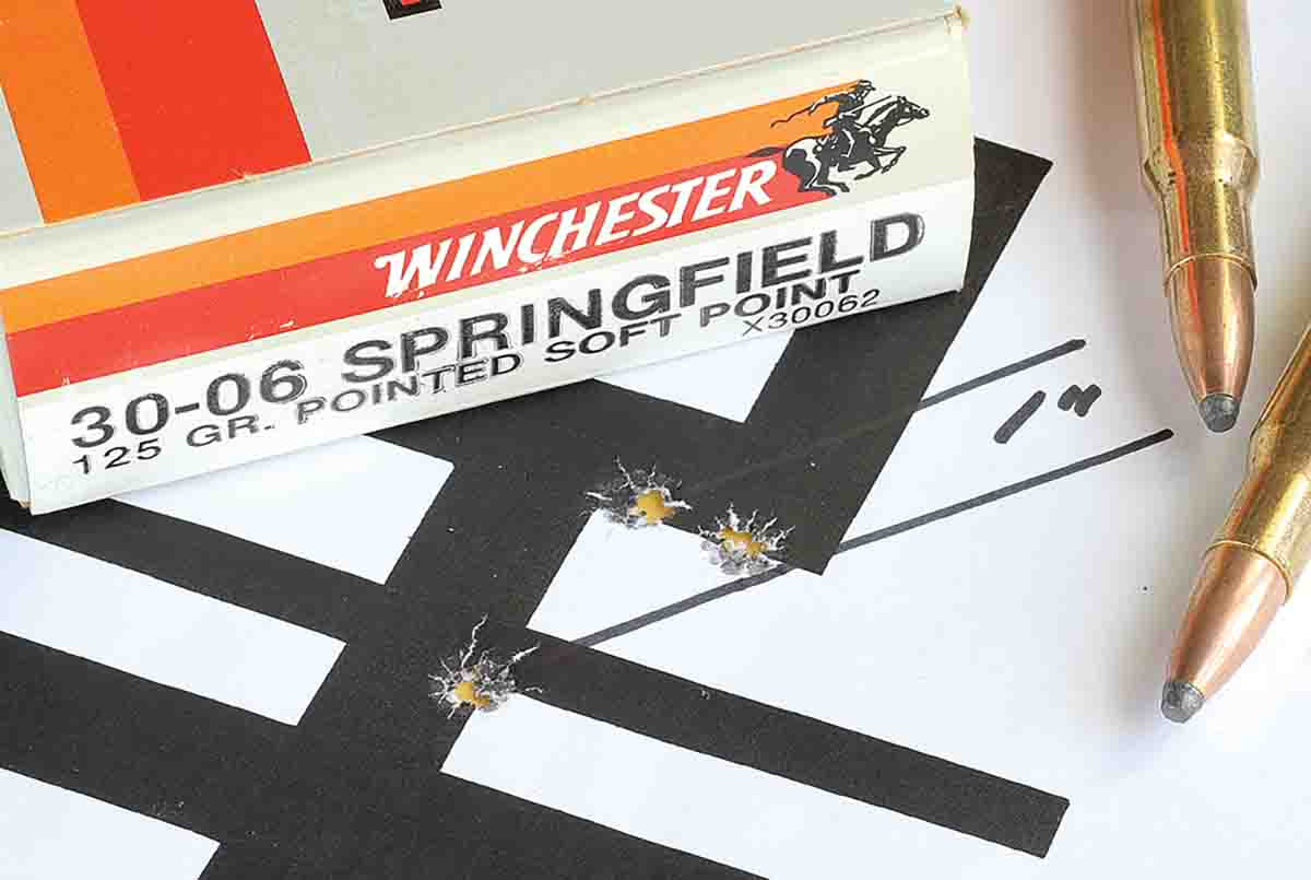 Winchester's 125-grain Pointed Soft Point load grouped three shots in an inch at 100 yards.