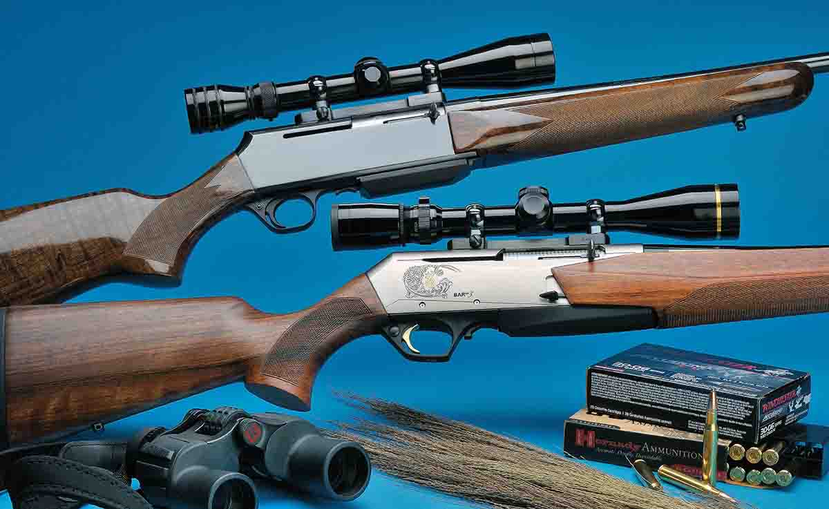 Stan's old BAR Grade I rifle is shown above. Below, the new BAR Mark 3 test rifle is pictured with a Leupold scope and Burris  base with high-polish Browning rings.