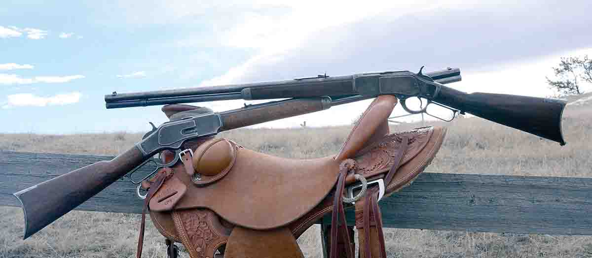 This Winchester Model 1873 with a round barrel (top) is the one purchased in 1985. The Winchester 73 with an octagonal barrel was purchased just days before writing this column. Both are .38 WCFs.