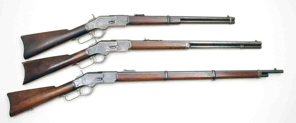 Winchester produced three primary variations of the Model 1873: carbines (top) with 20-inch round barrels, rifles (center) with 24-inch round or octagonal barrels and muskets (bottom) with 30-inch round barrels.