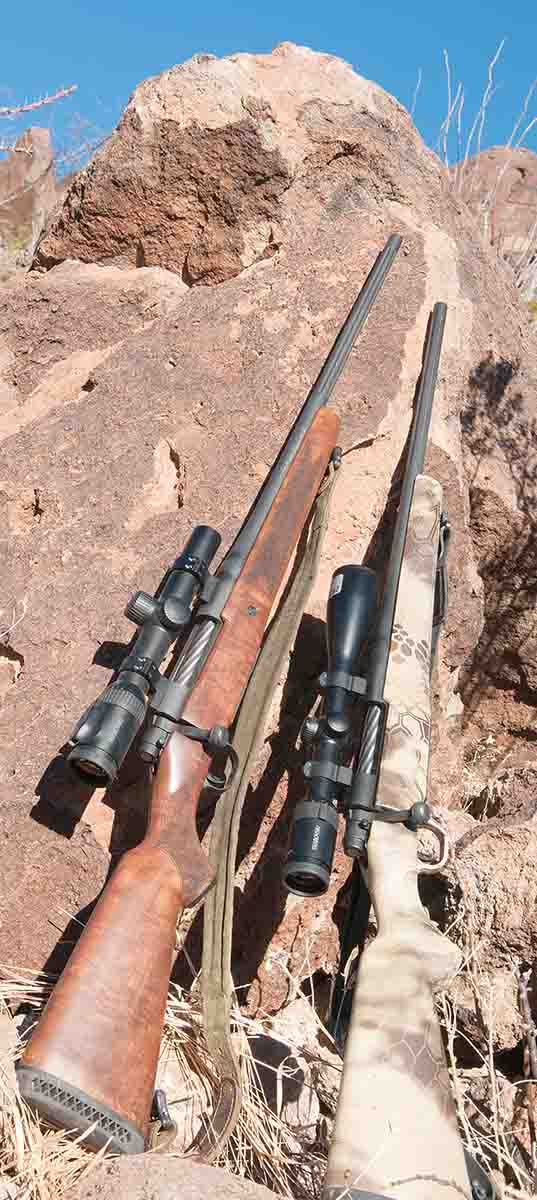 The Mossberg Patriot .270 Winchester (left) features a nicely shaped walnut stock. At right is a synthetic-stocked Patriot .300 Winchester Magnum.