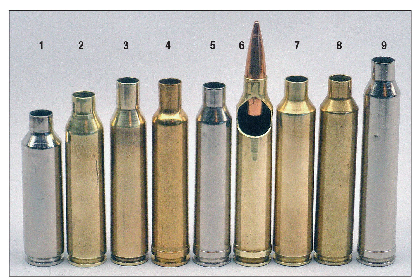 The sectioned 7mm-300 Winchester Magnum (6) shows seating depth for a Berger 140-grain VLD that is representative for all the cartridges shown: (1) 7mm WSM, (2) 7mm-404, (3) 7mm Newton, (4) 7mm Weatherby Magnum, (5) 7mm Remington Magnum, (7) .28 Nosler, (8) 7mm-375 Ruger and (9) 7mm STW.