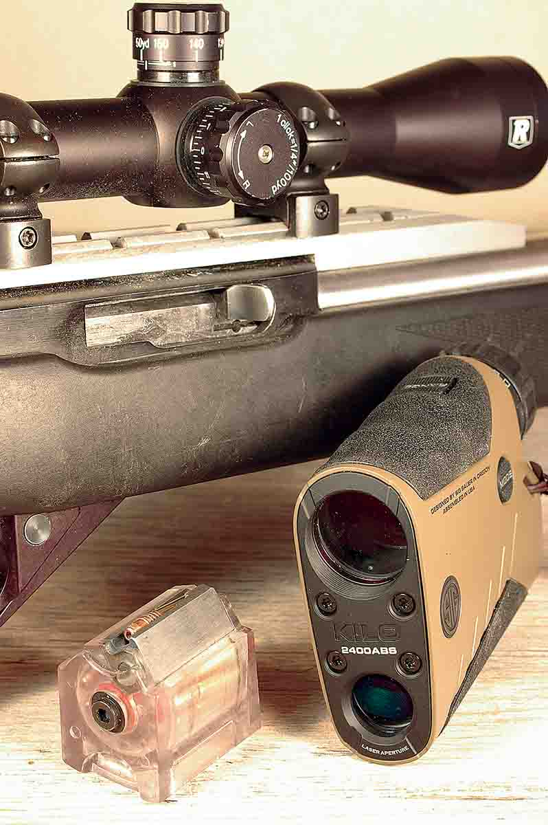 The SIG KILO2400ABS Laser Rangefinder can simply be used as a rangefinder by pushing its ranging button and reading the distance to a target. This mode worked well in conjunction with a .22 rimfire rifle and a scope with a bullet- drop compensation elevation turret.
