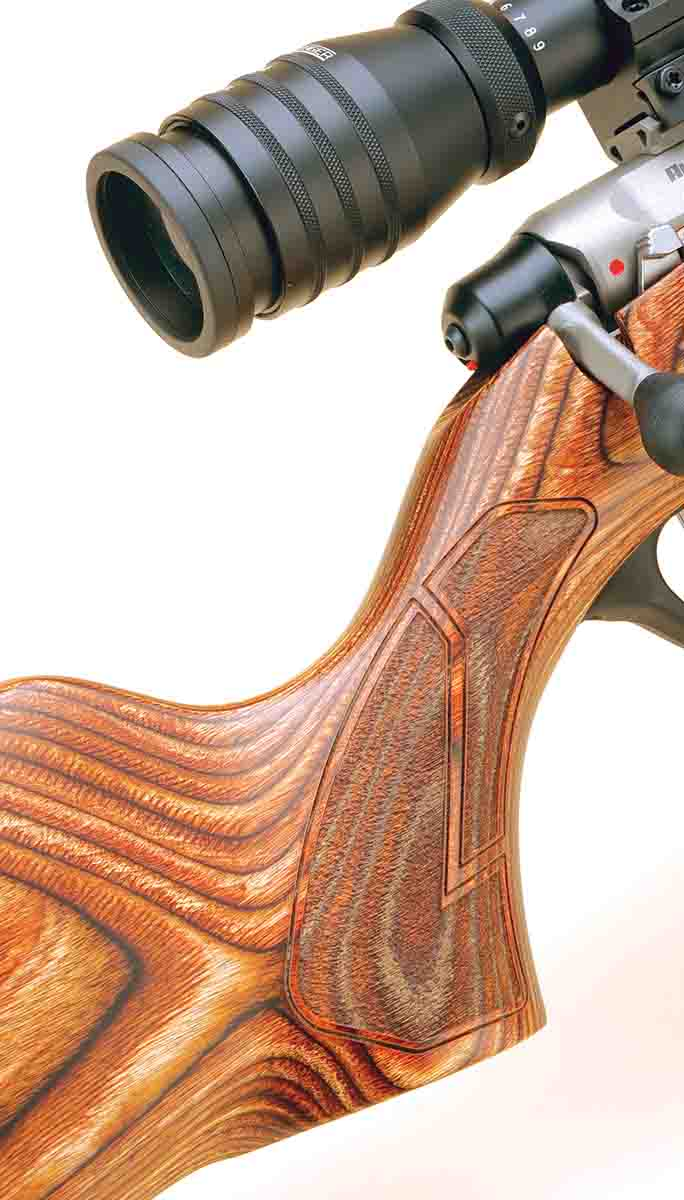 "The Crossover's pistol grip blends in with the buttstock and includes ""ribbons"" to break up the stippling pattern."