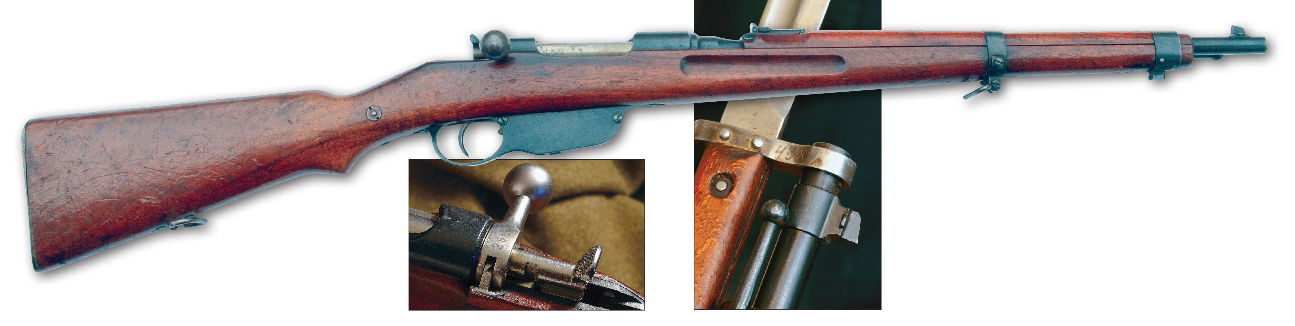 The Mannlicher M95 action's cocking piece could be manipulated with the thumb, and the safety was simple and out of the way. It was the first rifle to use stainless steel (the bolt), and its barrel was thinner and lighter, because it was made of a special steel alloy developed by Steyr. The Mannlicher M95 Stutzen had both a bayonet lug and stacking rod that were omitted from the otherwise similar M95 cavalry carbine.