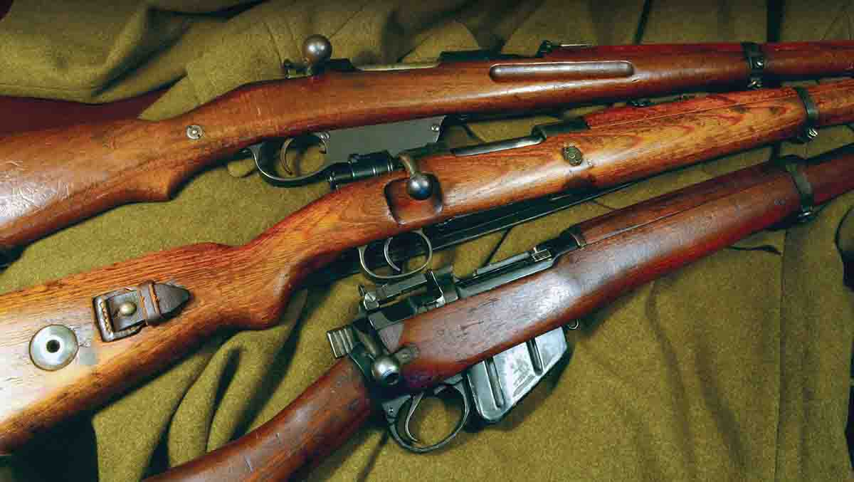 Military carbines include (top to bottom): the Mannlicher M95 Stutzen, Mauser G33/40 and Lee-Enfield No. 5 Mk I.