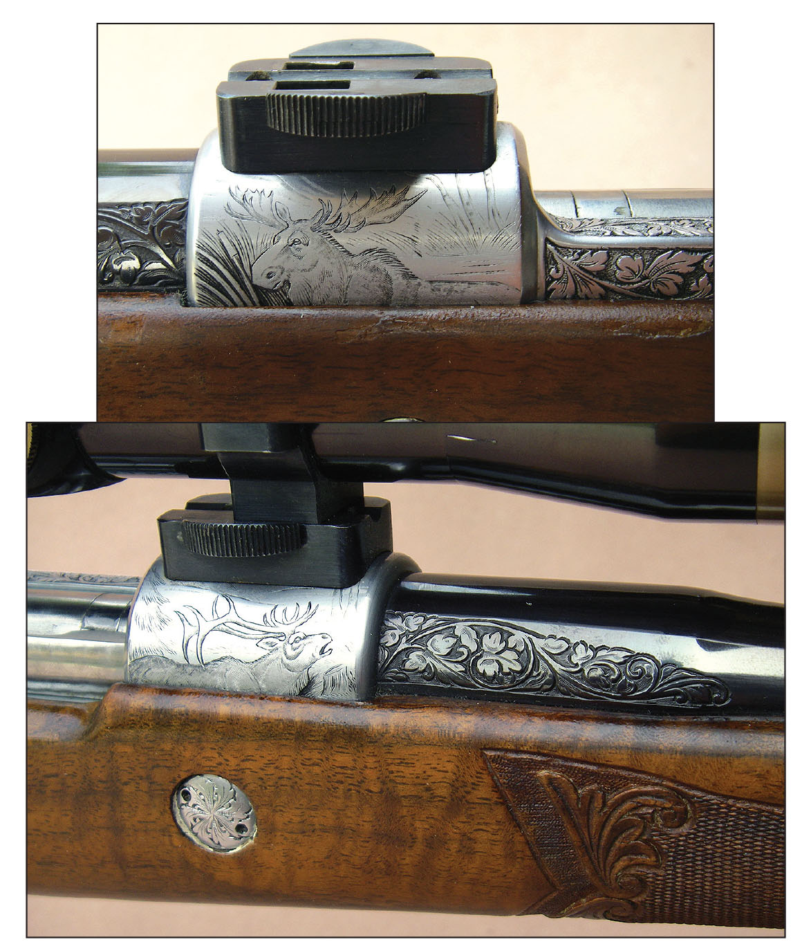 Olympian Grade High-Power rifles featured French Gray receivers that were scroll engraved, and many of these rifles were signed by the engraver.