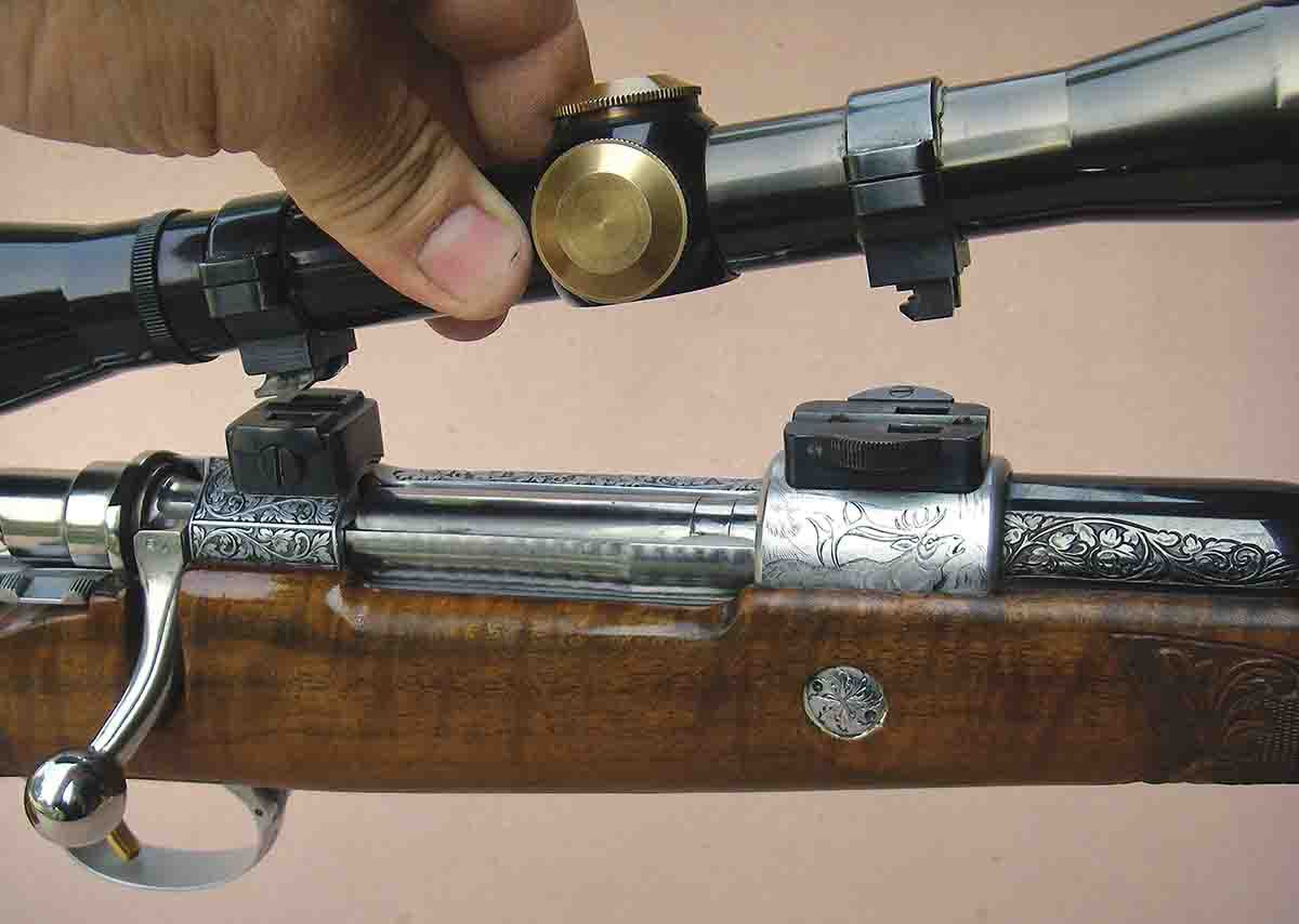 Elmer Keith's rifle has a George Hoenig- style claw mount that allowed quick detachment of the Leupold M7 4x scope for iron sight use.