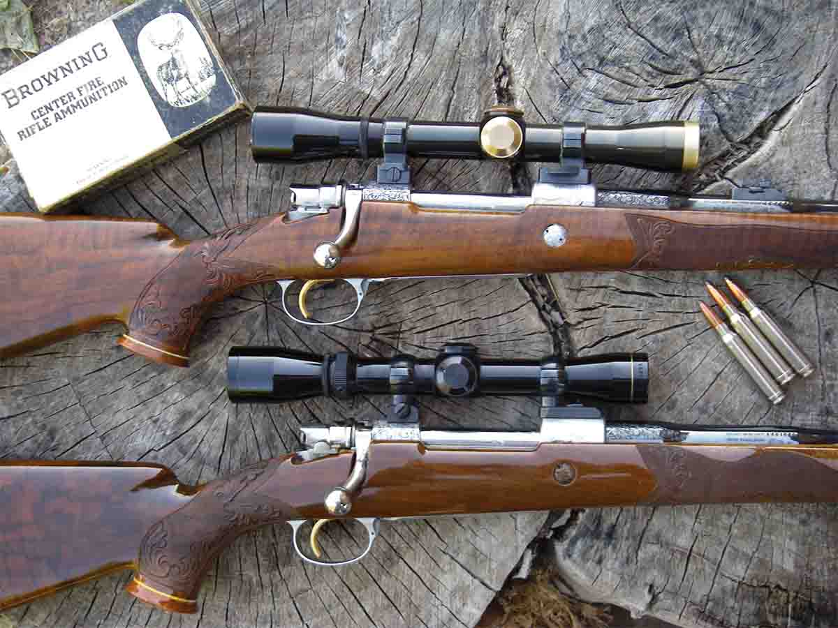 Browning High-Power Olympian Grade rifles were factory custom rifles with master engraved game scenes on the receivers and hand-carved stocks. The top rifle was Elmer Keith's; at bottom is a .30-06.