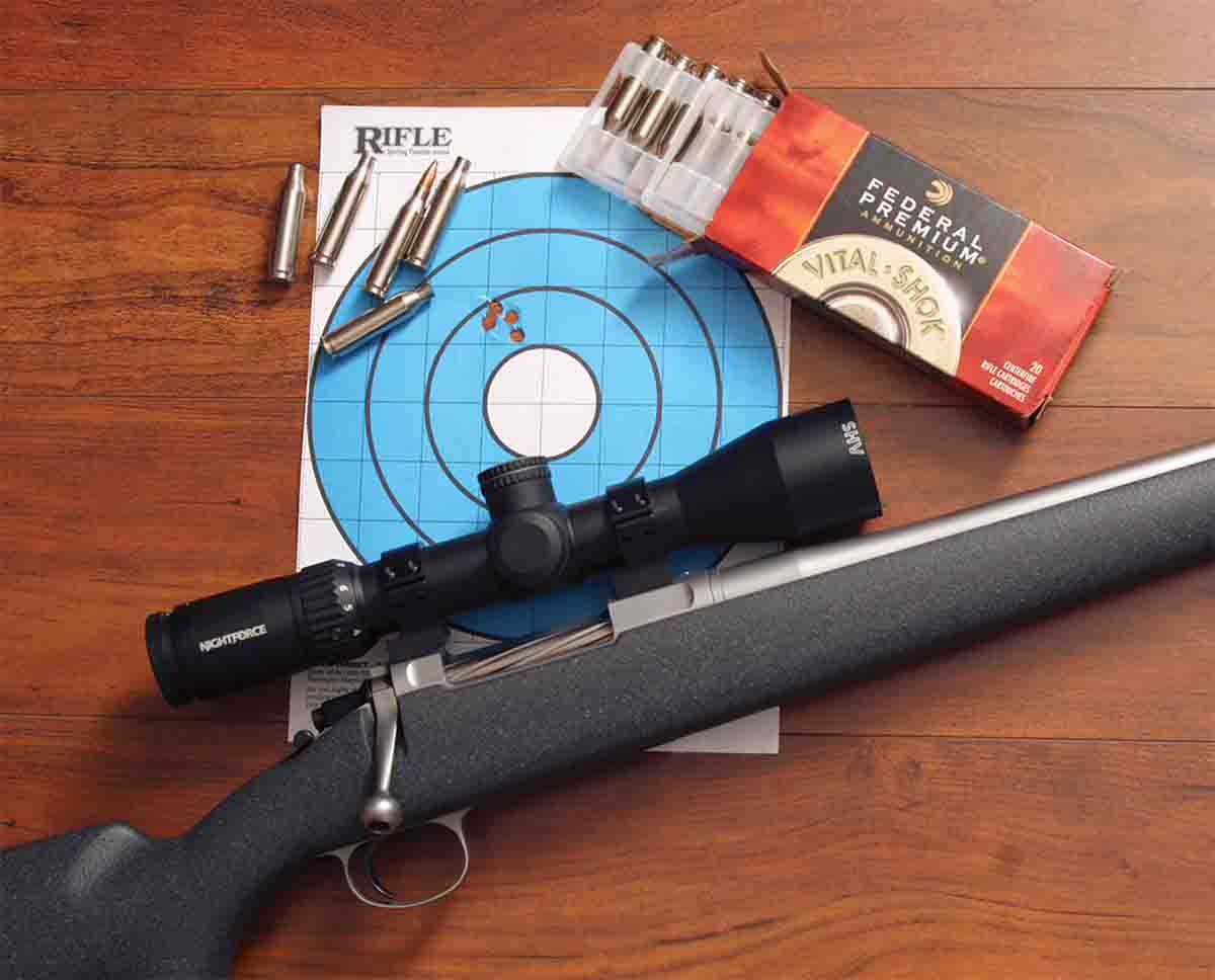 Barrett uses proprietary reamers to reduce bullet jump, and the test rifle shot very well with handloads and this Federal Vital-Shok factory load.