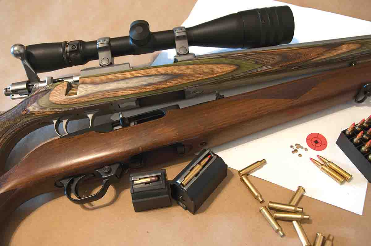 This Ruger 77/17 .17 Hornet with a Weaver 6-24x 42mm AO scope shoots 10-shot, sub-inch groups at 100 yards with Hornady 20-grain V-MAX Superformance Varmint factory loads. It is shown here with a nearly 40-year-old Ruger 10/22.
