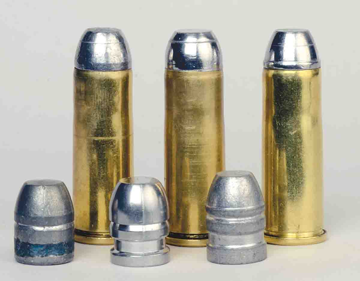 Three roundnose/flatpoint cast bullets were shot from the new 1873 .44-40 (left to right): Oregon Trail, 200 grain; Lyman 427666, 208 grain; and RCBS 44-200-FN, 214 grain.