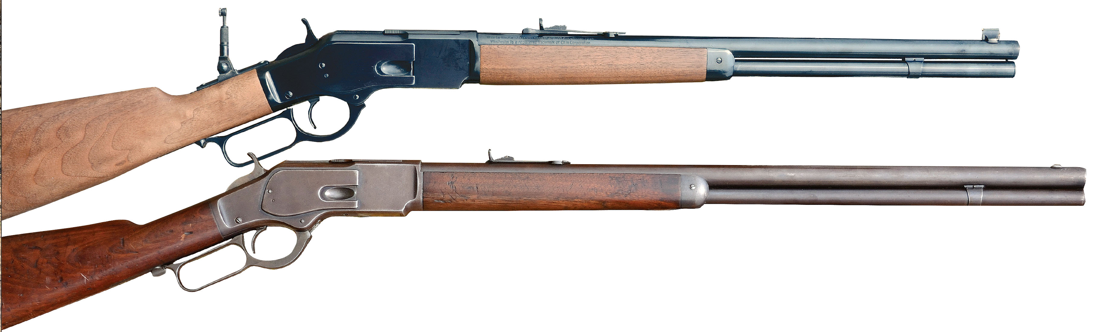 The new Winchester Model 1873 (above) is shown with an original Model 1873 standard rifle. Both are chambered for the .44-40.