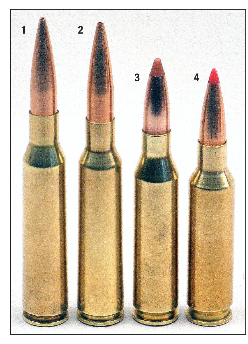 The (1) 6.5x57 and (2) 6.5x55 are shown with Berger 140-grain VLD/Hunting bullets loaded to 3.2 and 3.15 inches overall cartridge length, respectively. The (3) .260 Remington and (4) 6.5 Creedmoor are Federal and Hornady factory loads, respectively.