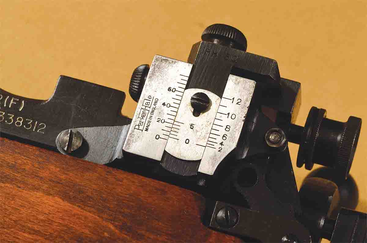 This Parker-Hale 5C target sight is on a Lee-Enfield No. 4, Mk II. Parker-Hale was the dominant name in British Empire long-range shooting for the better part of a century.