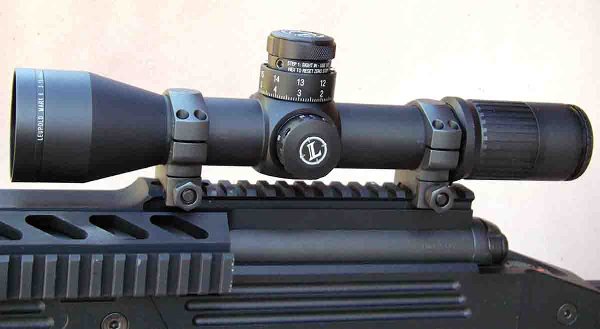 Scopes with tactical military features, like the Leupold Mark 6 3-18x 44mm, are becoming popular with long-range hunters.