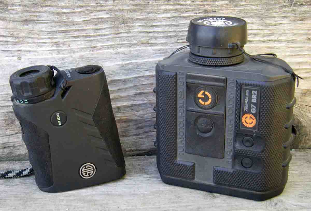Laser rangefinders are hugely important tools for the long-range hunter, such as these versions from SIG and Gunwerks.