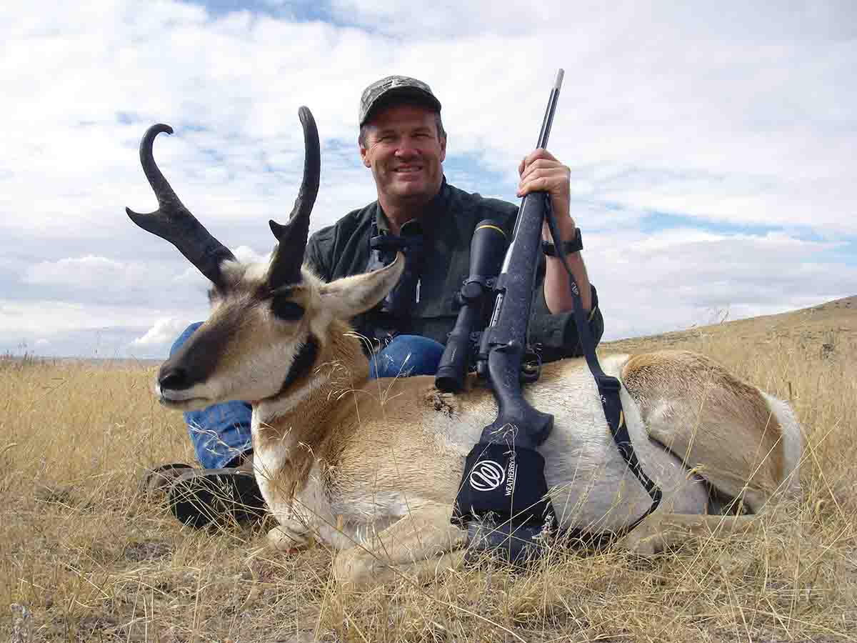 Getting closer is the best option: Hunting with a Weatherby Mark V 6.5-300 Weatherby Magnum, Brian stalked to within 150 yards of this pronghorn.