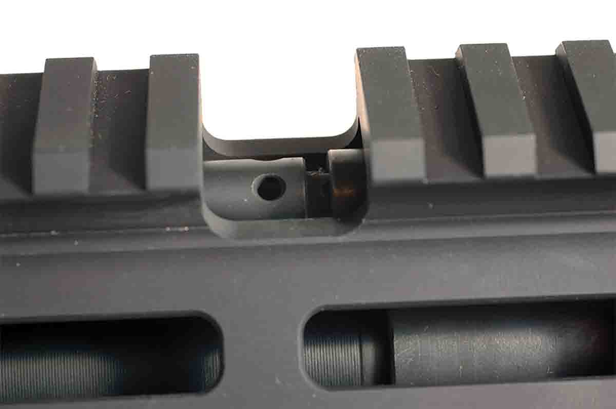 The Hunter's gas block can be adjusted through a port in the top of the handguard.