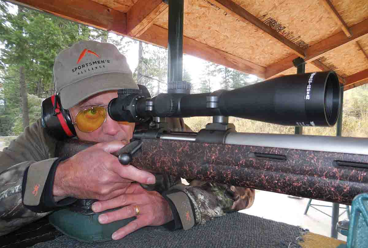 A Cooper Model 22 .243 Winchester was used to test a Trijicon AccuPoint 2.5-12x 42mm riflescope with an MOA-dot crosshair reticle.