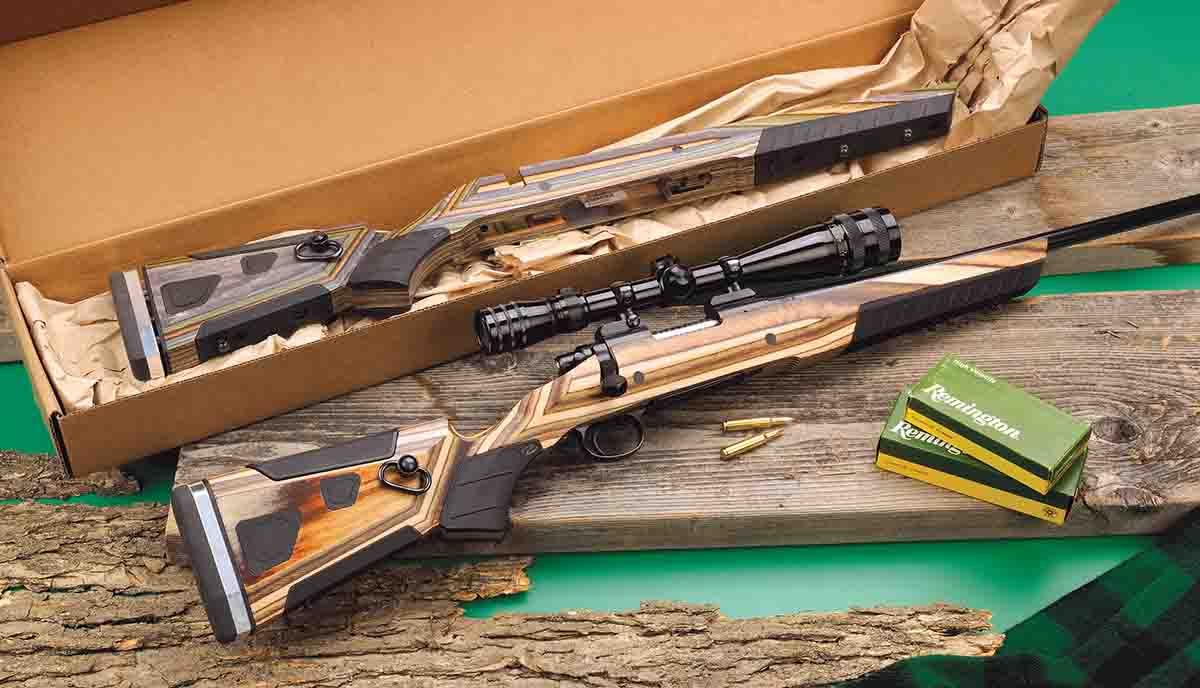 The top At-One stock is for a Weatherby Vanguard barreled action and the bottom stock is for a short-action Remington Model 700.