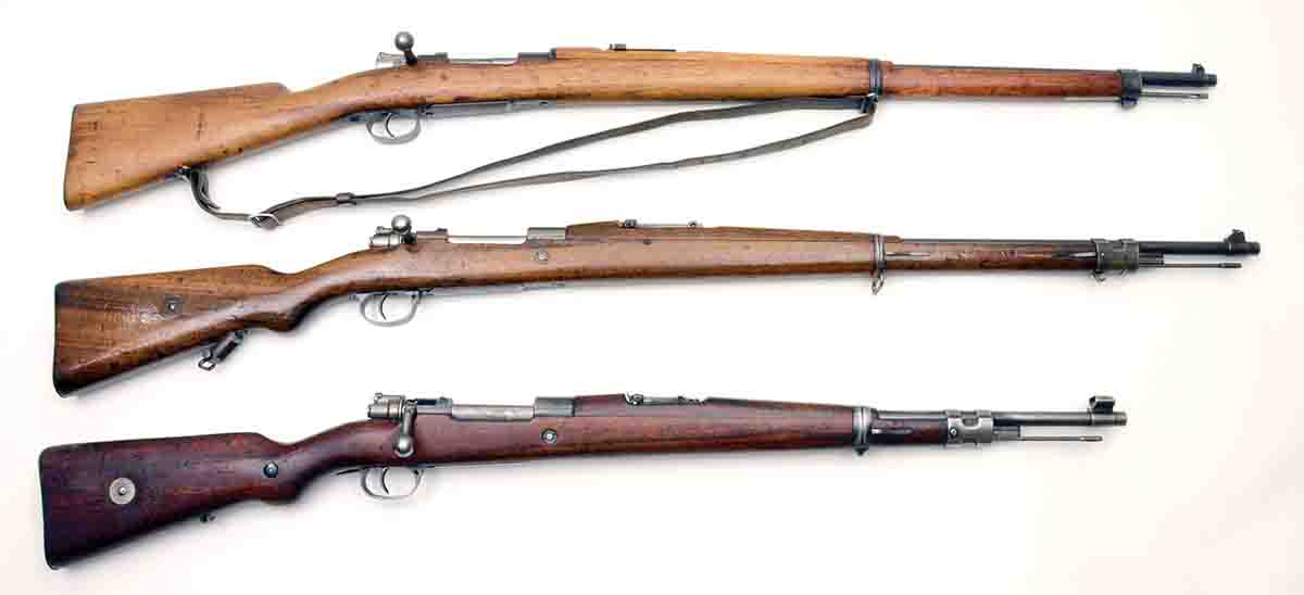 Chilean Mausers include (top to bottom): a Model 1895, Model 1912 and Model 1935. All are chambered for 7x57mm.
