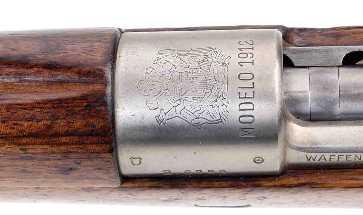 The Austrian-produced, Chilean Model 1912's receiver was left in the white.