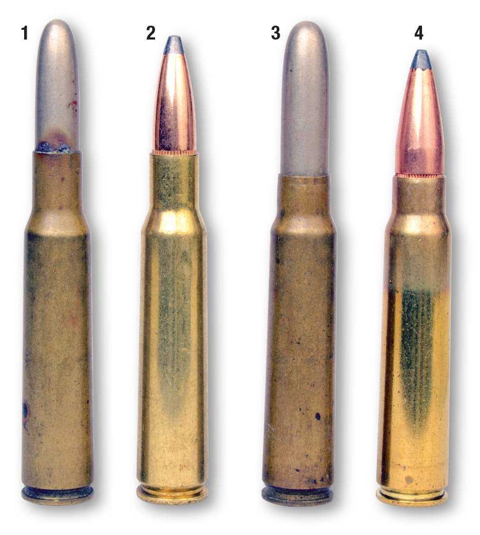 These cartridges include (1) an original military 7x57mm load and a (2) handload with a spitzer bullet. Shown for comparison is (3) an original 7.65x53mm Argentine and a (4) handload with a spitzer bullet.