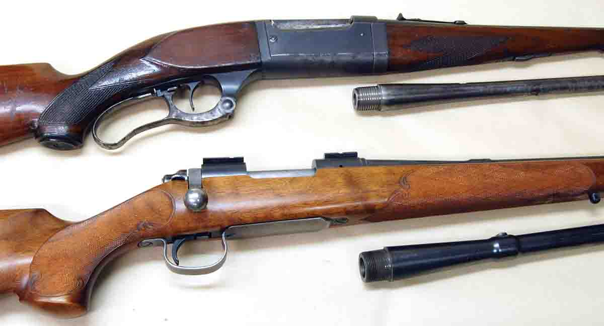 Examples of using factory take-off barrels are shown above. The top rifle is a Savage M99 with a badly pitted bore. Below is a Remington M722 with a washed-out throat. The barrels shown have perfect bores and were found at gun shows.
