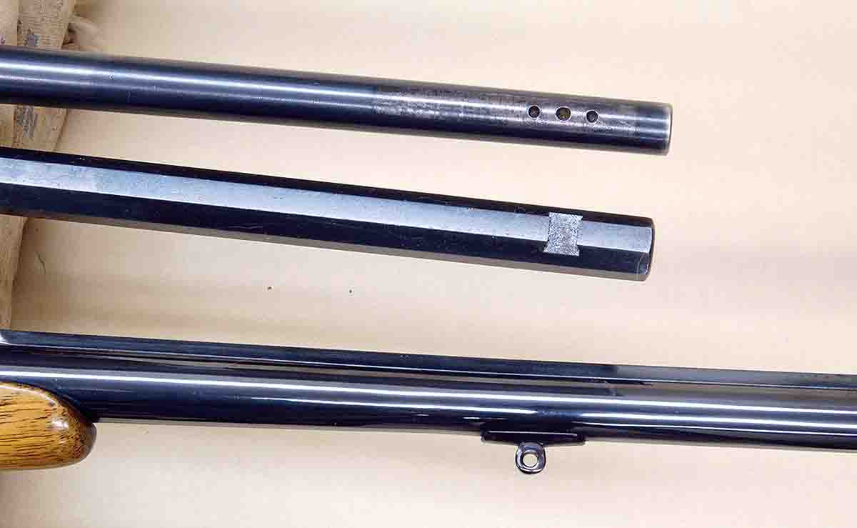Additional machining, such as (top to bottom): drilling and tapping, dovetails for iron sights and reinstalling a sling base, will add to the rebarreling cost.
