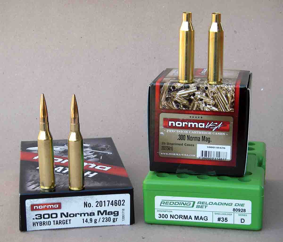 In addition to factory ammunition, Norma offers excellent unprimed cases for handloaders, and Redding offers dies.