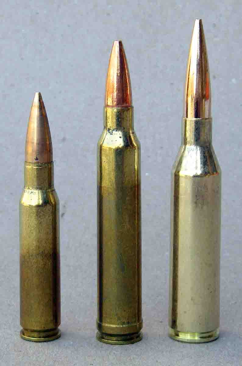 Cartridges shown for comparison include (left to right): the .308 Winchester, .300 Winchester Magnum and .300 Norma Magnum.