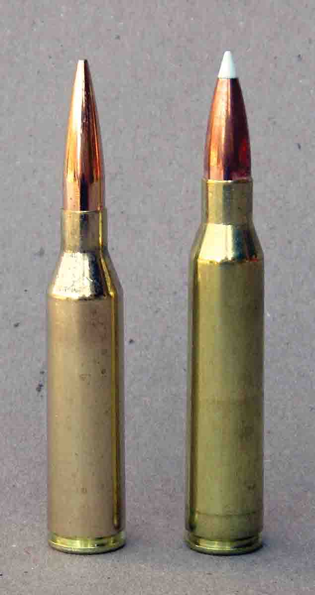 The .300 Norma Magnum (left) is based on the .338 Lapua Magnum (right).