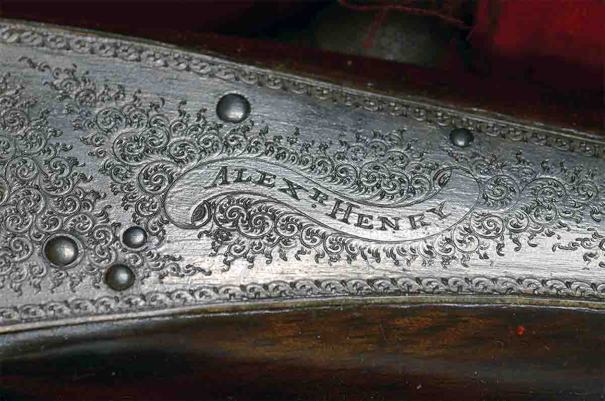 Alexander Henry always favored back-action locks for his hammer rifles, because they did not require steel to be removed from the frame. This left the action stronger.