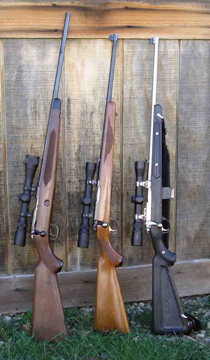 Preferred .22 Long Rifle bolt-action rifles include (left to right): a Miroku-manufactured Winchester Model 52, Ruger 77/22RS and a 77/22RS All Weather.