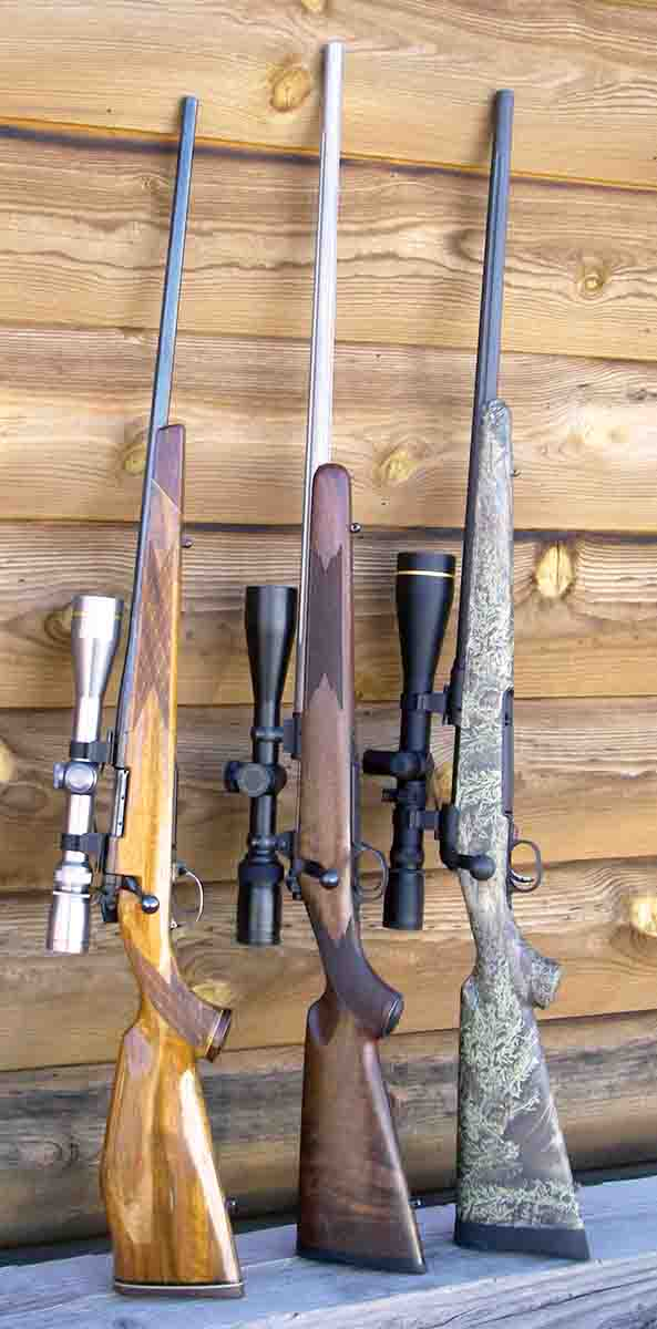 The .22-250 Remington is a highly versatile cartridge for varmints and predators. Examples include (left to right): a Weatherby Mark V Varmint Master, Kimber 84M and a Savage Model 10 Predator Hunter Max.