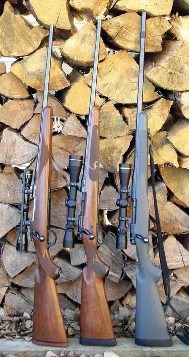 The .280 Remington is one of Brian's favorite deer cartridges. Rifles include (left to right): a Ruger M77R, Winchester Model  70 Featherweight and a Beretta Mato.