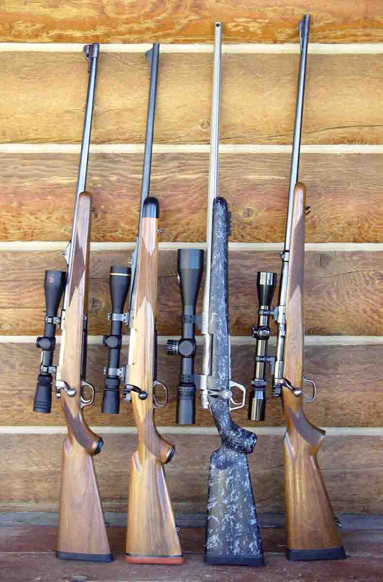 Brian considers the .300 Winchester Magnum a top-notch, big-game hunting cartridge. Rifles shown include (left to right): a  Ruger M77RS MK II, Kimber BGR 89 and a Gunwerks LR-1000. The Winchester pre-'64 Model 70 .300 H&H Magnum (far right) remains a sentimental favorite.