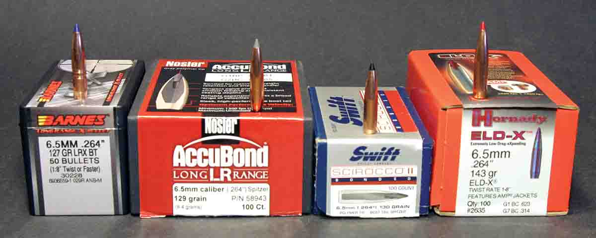 New high-BC hunting bullets are often 6.5mms due to the faster rifling twist in many 6.5 rifles. Construction varies considerably, but all work well at moderate muzzle velocities.