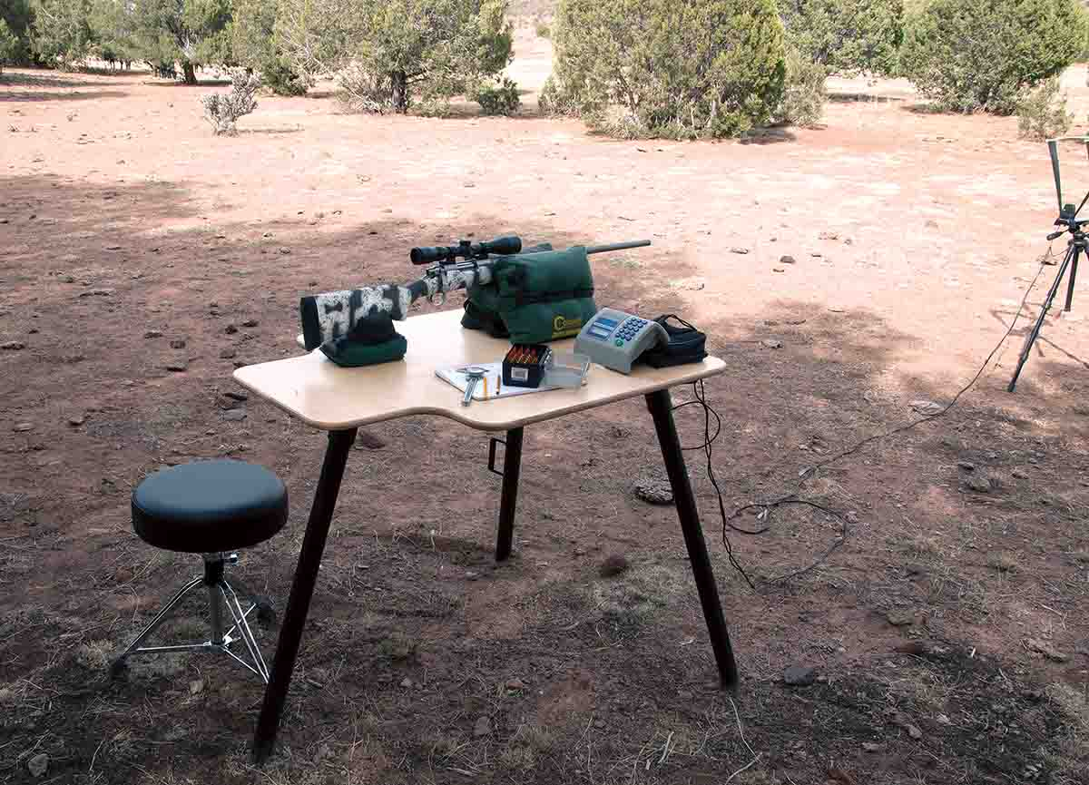 For portability, the top of the Stukeys Sturdy Shooting Bench is 32 inches wide and 40 inches deep. It provides plenty of space for a chronograph. A very comfortable shooter's seat is optional.