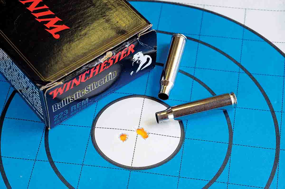 The best three-shot, 100-yard group with the Savage Predator Hunter .223 Remington was this .460-inch cluster using  Winchester ammunition loaded with 40-grain Ballistic Silvertip bullets.