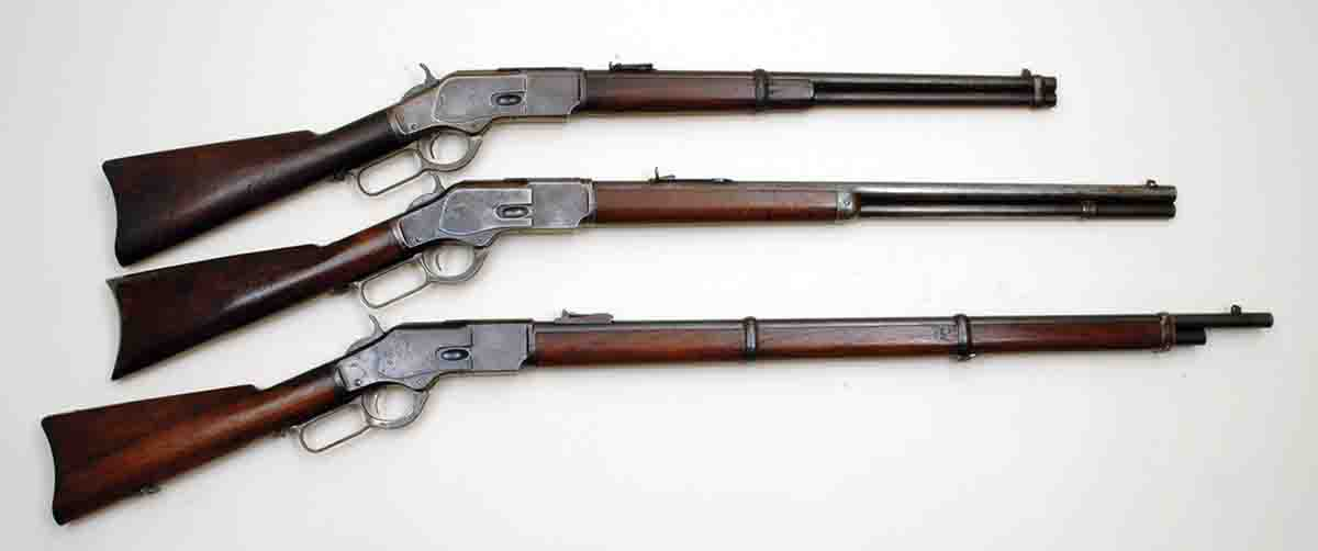 Between 1873 and 1923 Winchester sold nearly 750,000 Model 1873s. As standard catalog items, about one-third were saddle ring carbines (top), only five percent were muskets (bottom) and the rest were rifles (middle).
