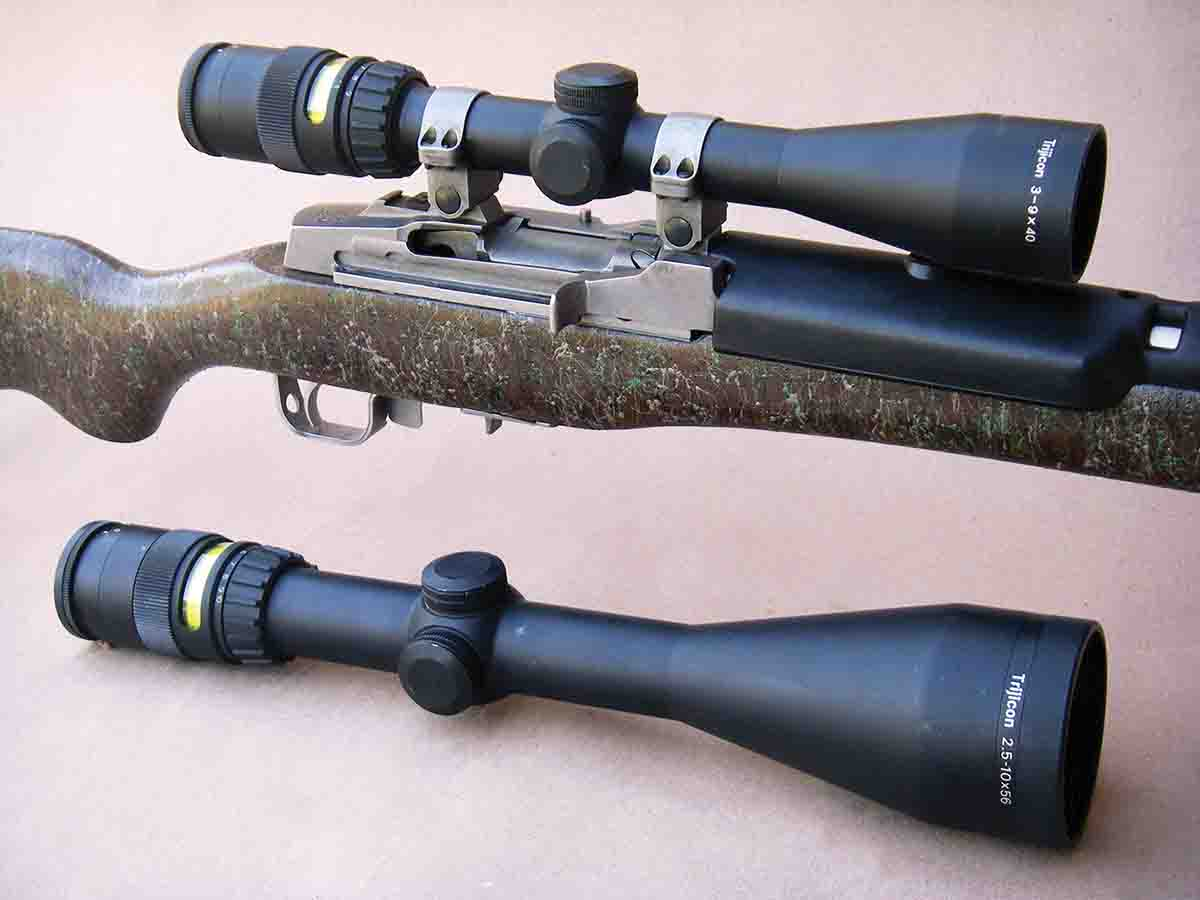 Trijicon offers a full line of hunting scopes suitable for many applications. The 3-9x 40mm (top) features a one-inch main tube while the 2.5-10x 56mm (bottom) has a 30mm main tube. Both have fully coated optics and feature fiber optics to illuminate the tritium lamp reticle.