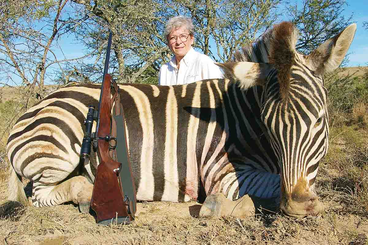 The .308 Winchester also works fine on game larger than deer. John's wife, Eileen, shot this Burchell's zebra stallion with a Nosler 150-grain E-Tip.