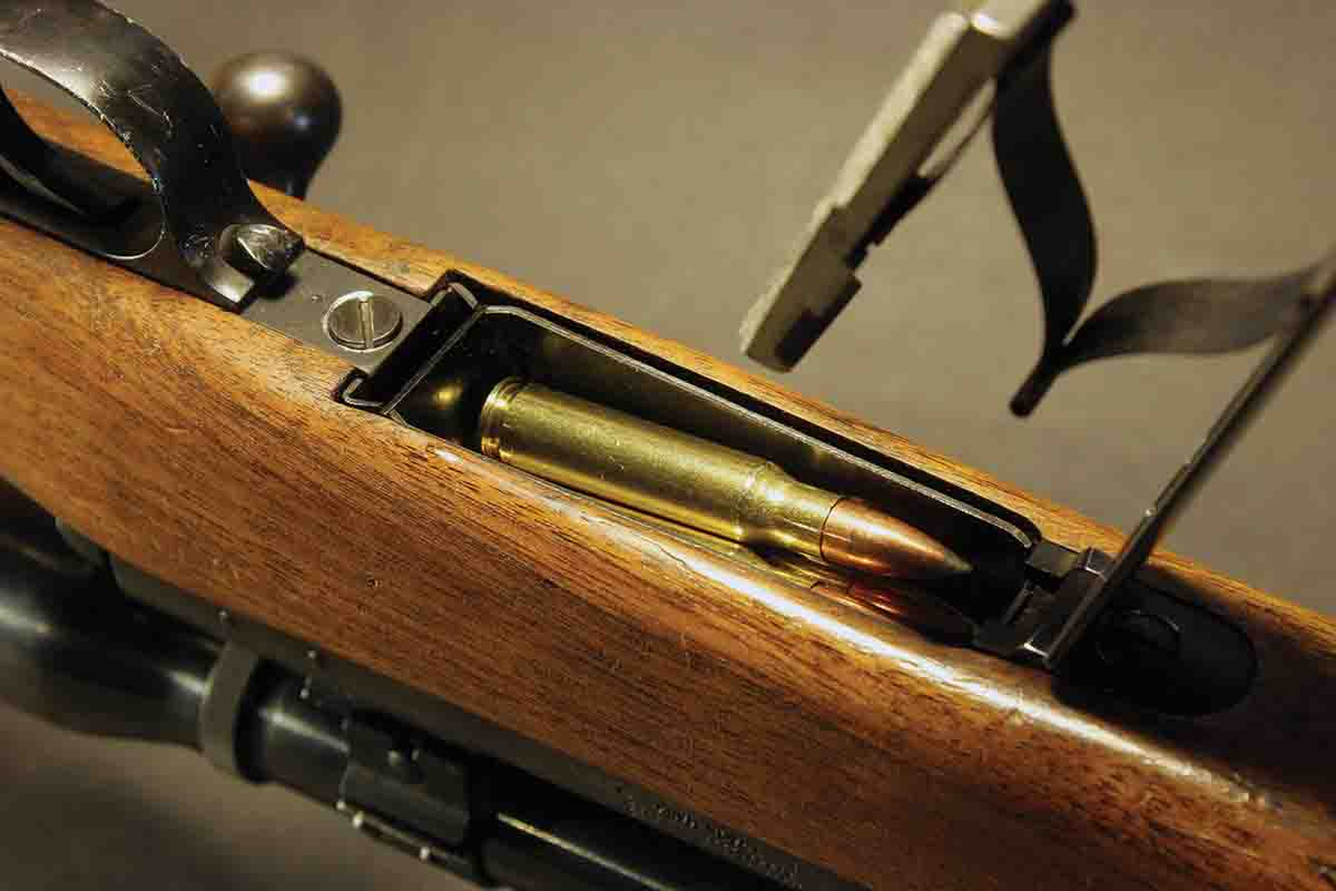 Pre-'64 Model 70s chambered for shorter cartridges used a spacer at the rear of the magazine.