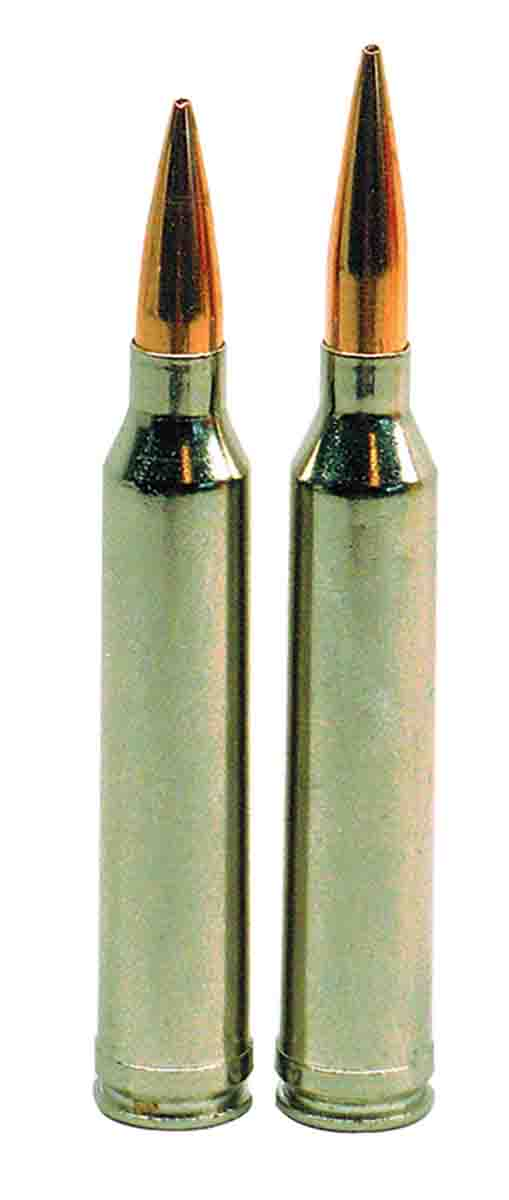 Overall loaded length (OAL) for the 7mm-300 Winchester Magnum (left) with a Berger 140-grain VLD Hunting bullet is 3.348 inches; OAL for the 6.5-300 Winchester (right) is 3.587 inches with a Berger 130-grain VLD Hunting bullet.