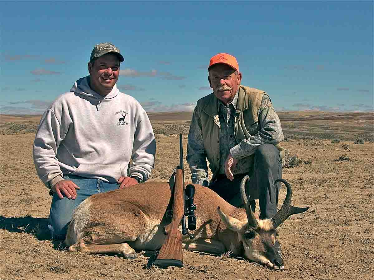 Dave hunted with Casey Tillard (Tillard 55 Ranch, Glenrock, WY) when this buck with 8-inch prongs was taken at about 60 yards with a Kimber 7mm WSM.